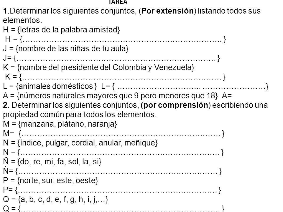 TAREA 1.Determinar los siguientes conjuntos, (Por extensión) listando todos sus elementos.