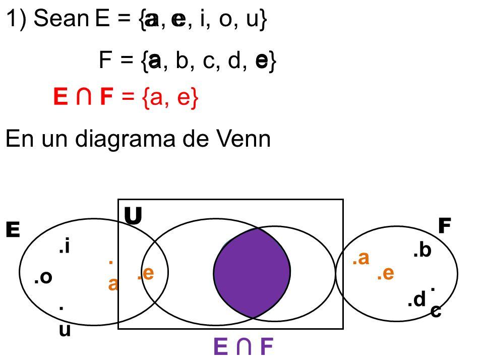 1) Sean E = {a, e, i, o, u} a e F = {a, b, c, d, e} a e E ∩ F = {a, e}