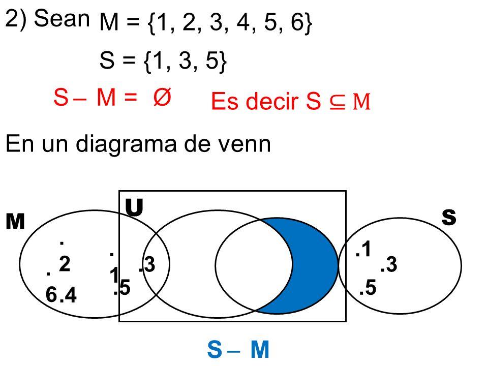 2) Sean M = {1, 2, 3, 4, 5, 6} S = {1, 3, 5} S ̶ M = Ø Es decir S ⊆ M