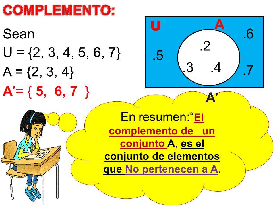 COMPLEMENTO: A U Sean .6 .2 U = {2, 3, 4, 5, 6, 7} 5, 6, 7 .5 .3 .4