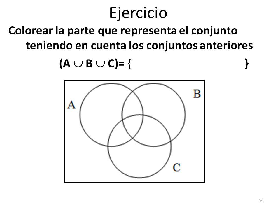 Ejercicio Colorear la parte que representa el conjunto teniendo en cuenta los conjuntos anteriores.