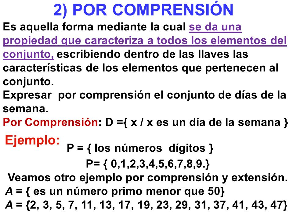 2) POR COMPRENSIÓN Ejemplo: