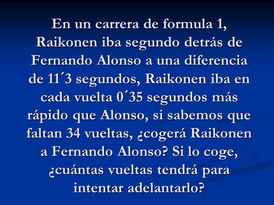 En un carrera de formula 1, Raikonen iba segundo detrás de Fernando Alonso a una diferencia de 11´3 segundos, Raikonen iba en cada vuelta 0´35 segundos más rápido que Alonso, si sabemos que faltan 34 vueltas, ¿cogerá Raikonen a Fernando Alonso.