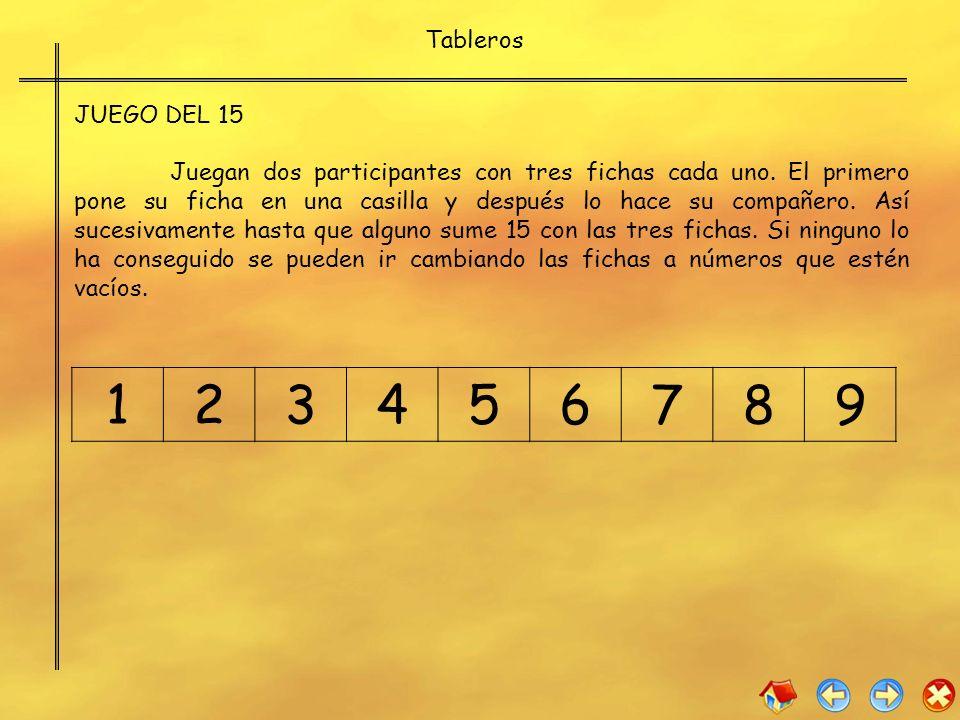 Tableros JUEGO DEL 15.
