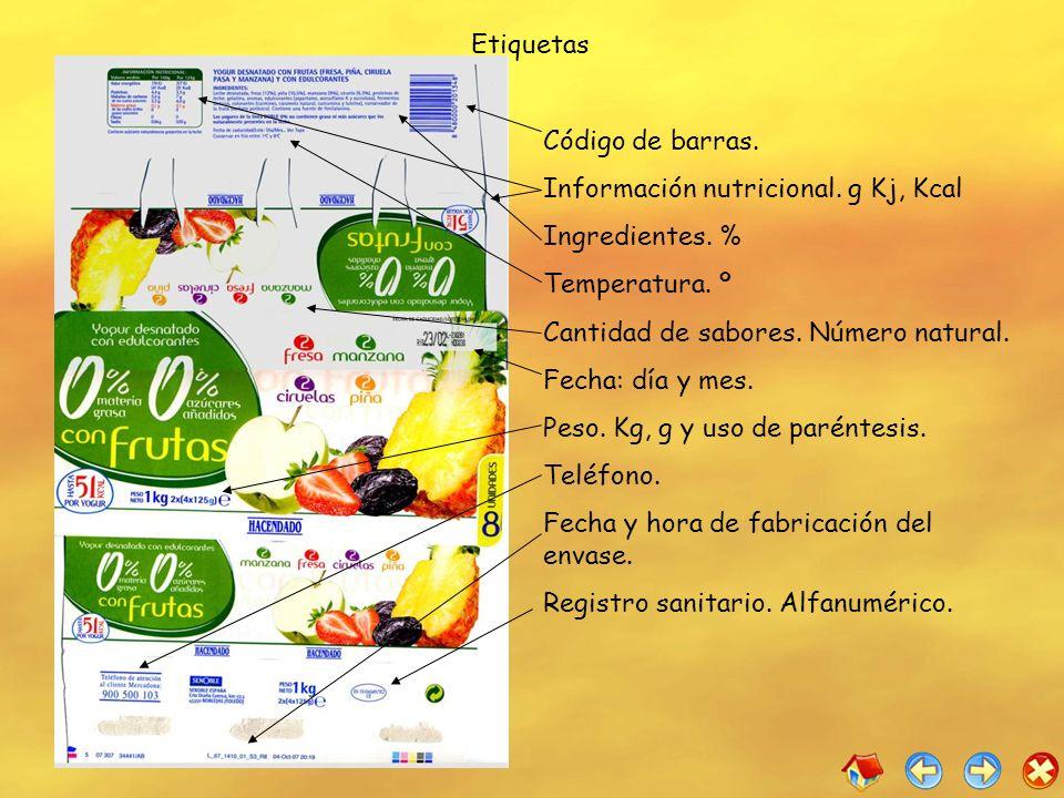 EtiquetasCódigo de barras. Información nutricional. g Kj, Kcal. Ingredientes. % Temperatura. º. Cantidad de sabores. Número natural.