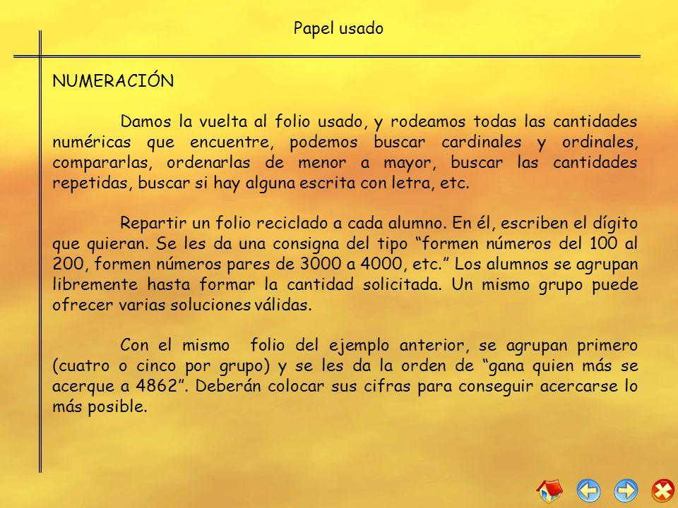 Papel usado NUMERACIÓN.