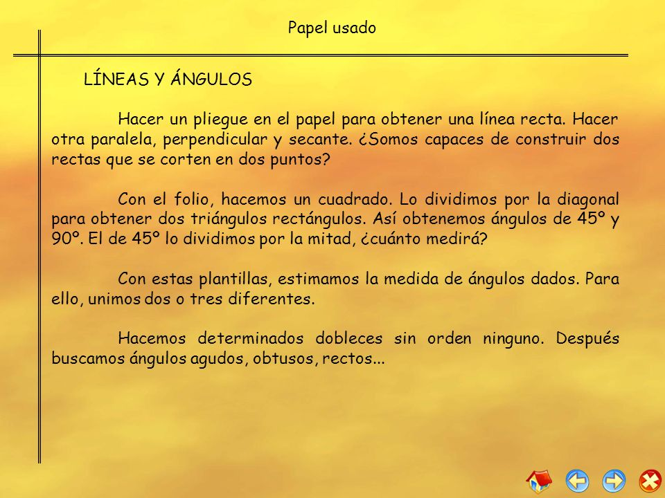 Papel usado LÍNEAS Y ÁNGULOS.