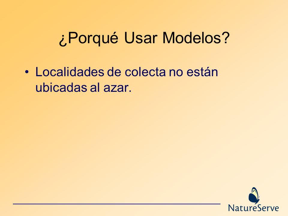 ¿Porqué Usar Modelos Localidades de colecta no están ubicadas al azar.