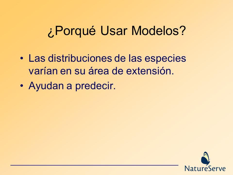 ¿Porqué Usar Modelos. Las distribuciones de las especies varían en su área de extensión.