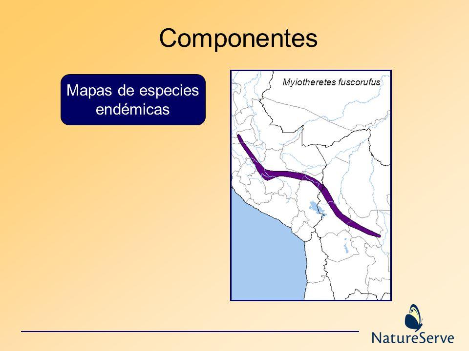 Mapas de especies endémicas