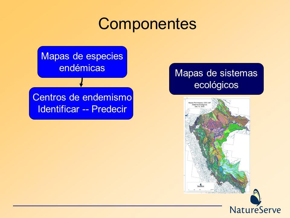 Componentes Mapas de especies endémicas Mapas de sistemas ecológicos