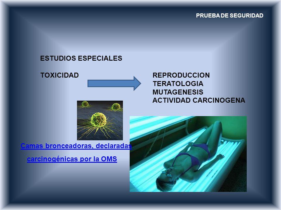TOXICIDAD REPRODUCCION TERATOLOGIA MUTAGENESIS ACTIVIDAD CARCINOGENA