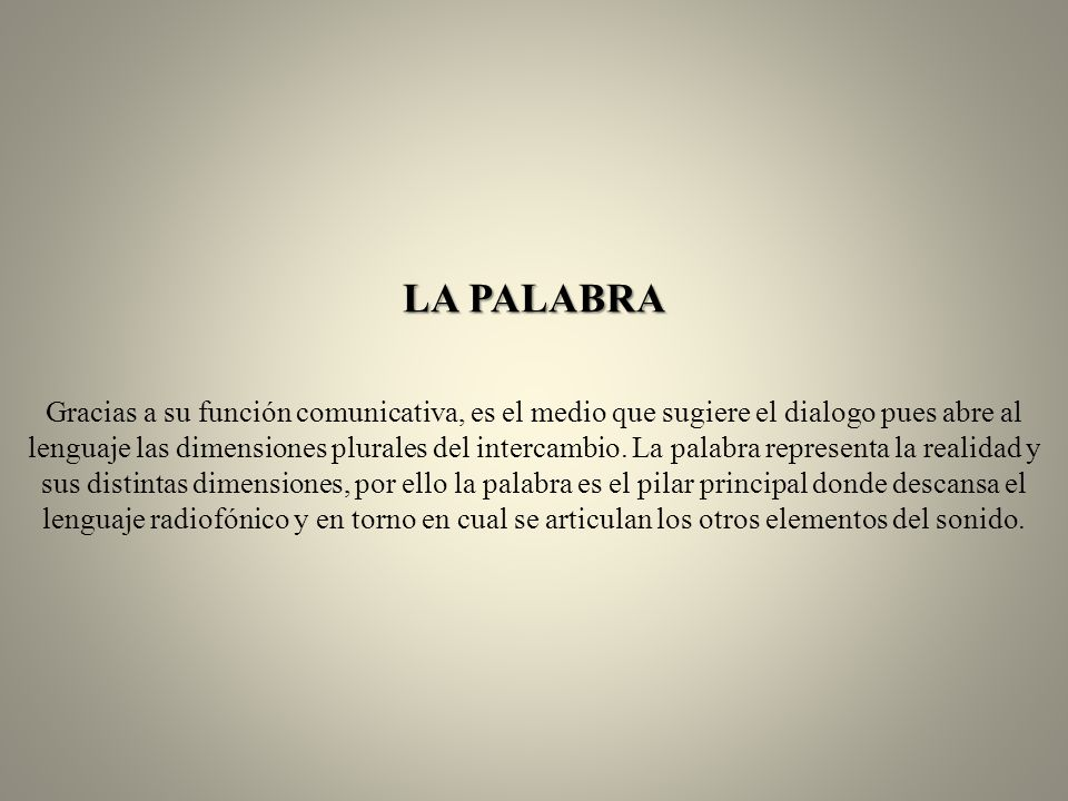 LA PALABRA