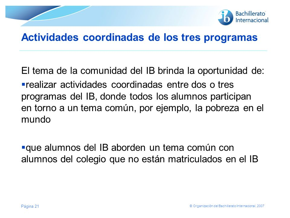 Actividades coordinadas de los tres programas
