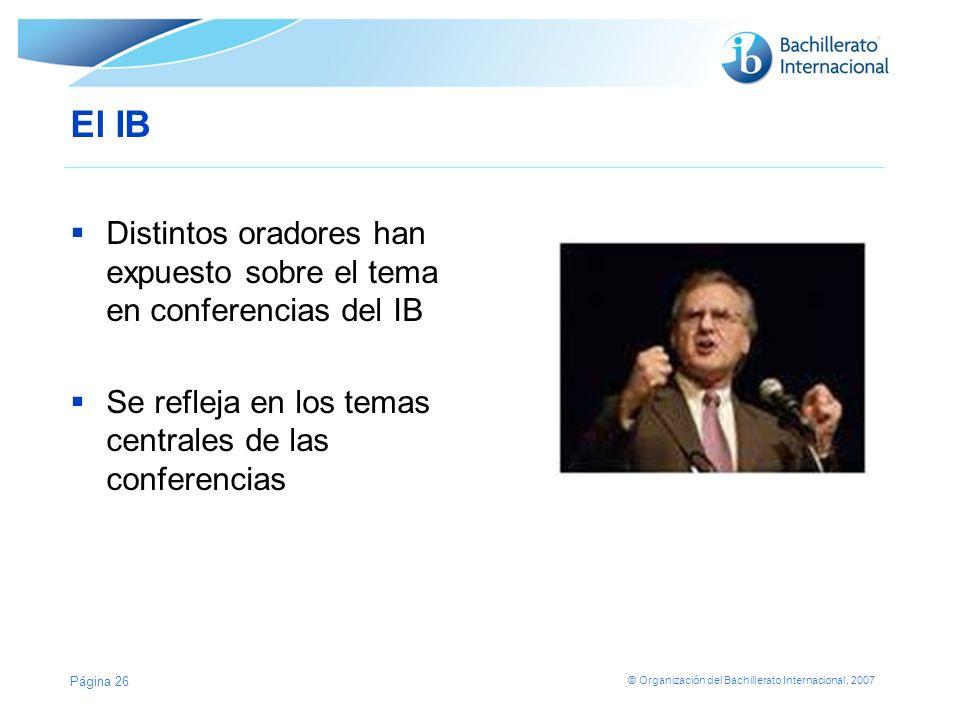 El IB Distintos oradores han expuesto sobre el tema en conferencias del IB.