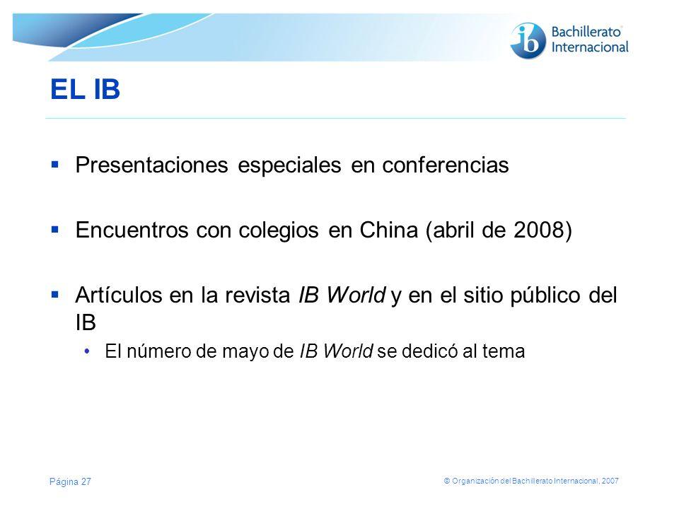 EL IB Presentaciones especiales en conferencias