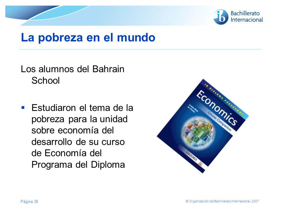 La pobreza en el mundo Los alumnos del Bahrain School