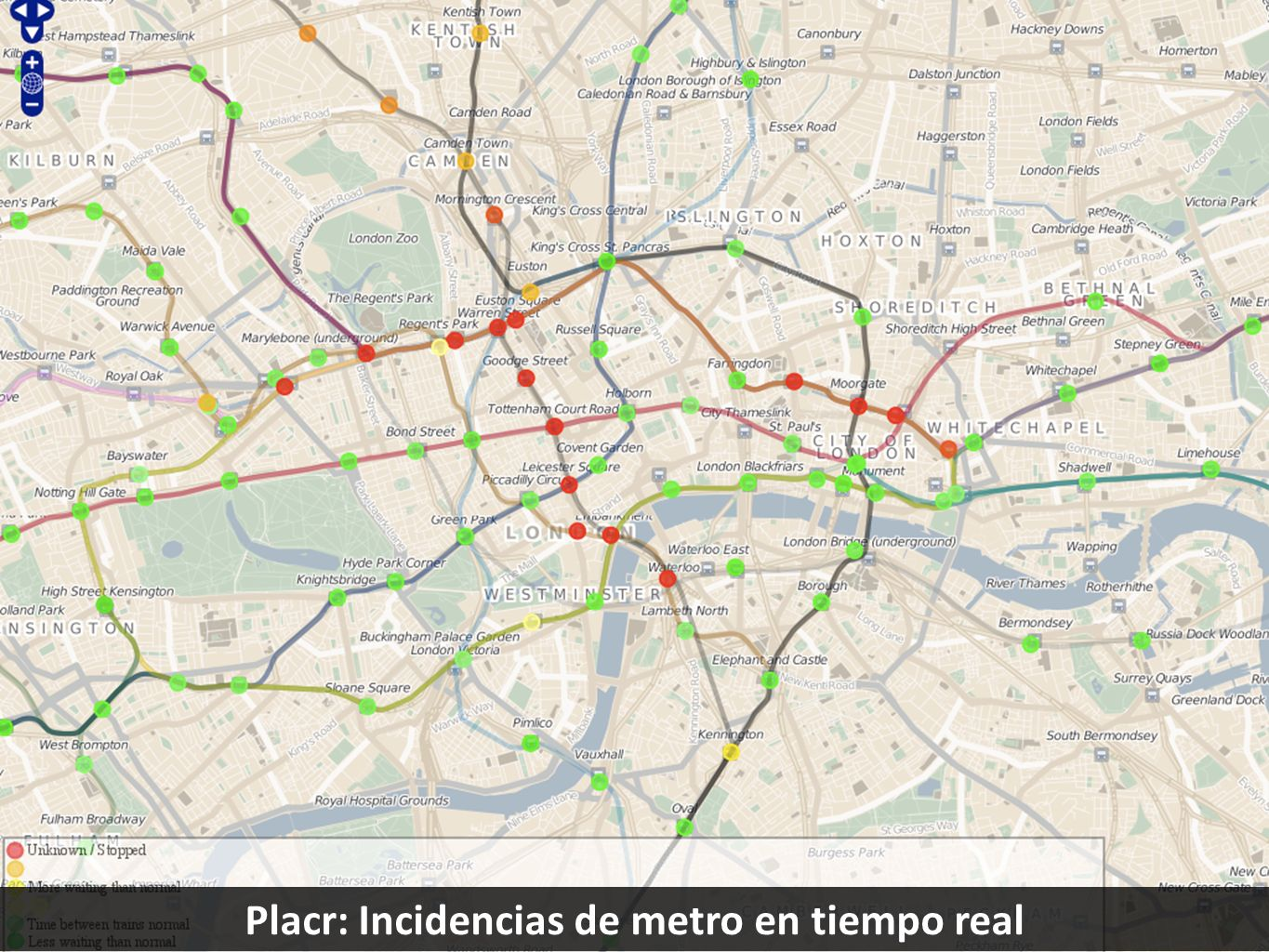 Placr: Incidencias de metro en tiempo real