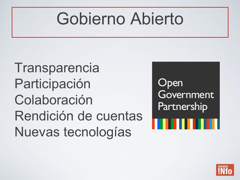 Gobierno Abierto Transparencia Participación Colaboración Rendición de cuentas Nuevas tecnologías