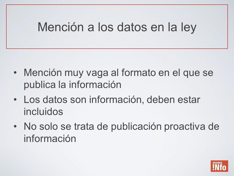 Mención a los datos en la ley