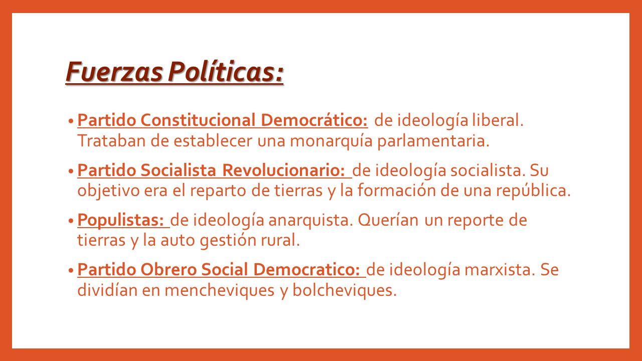 Fuerzas Políticas: Partido Constitucional Democrático: de ideología liberal. Trataban de establecer una monarquía parlamentaria.