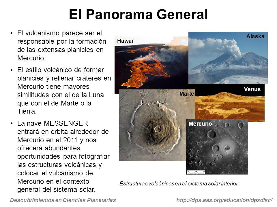 El Panorama General El vulcanismo parece ser el responsable por la formación de las extensas planicies en Mercurio.