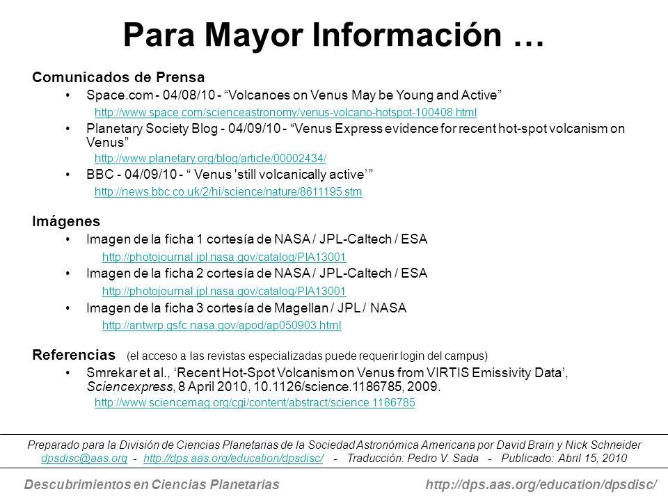 Para Mayor Información …