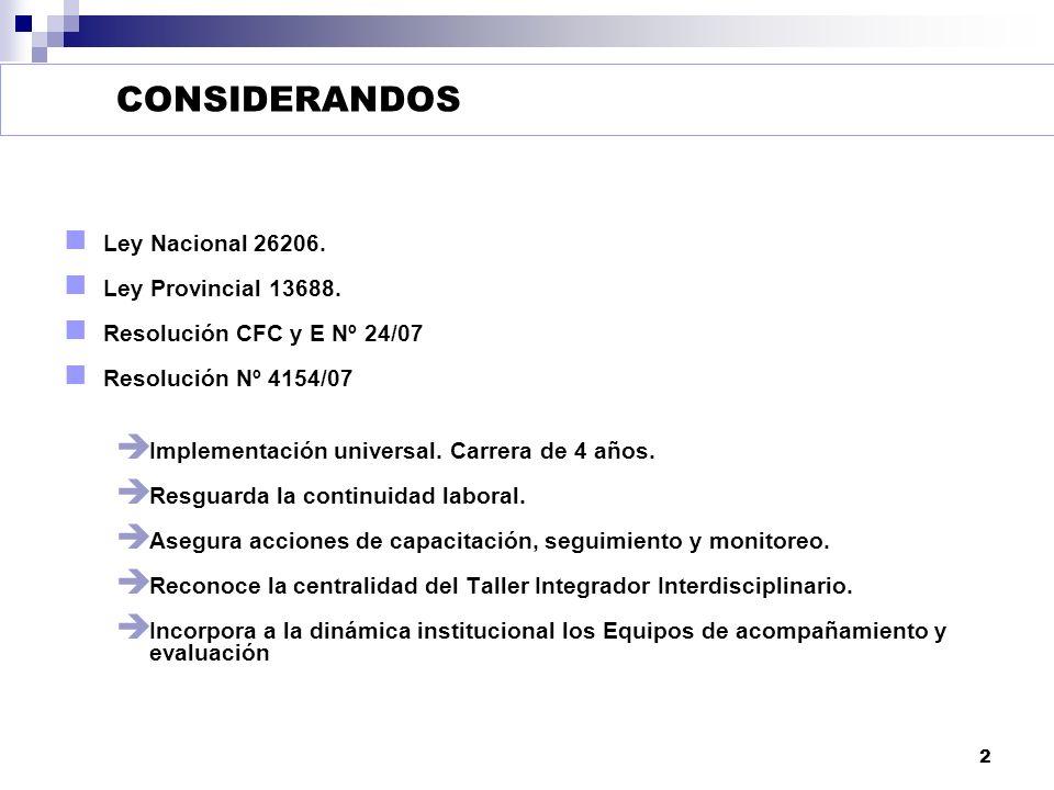 CONSIDERANDOS Ley Nacional 26206. Ley Provincial 13688.