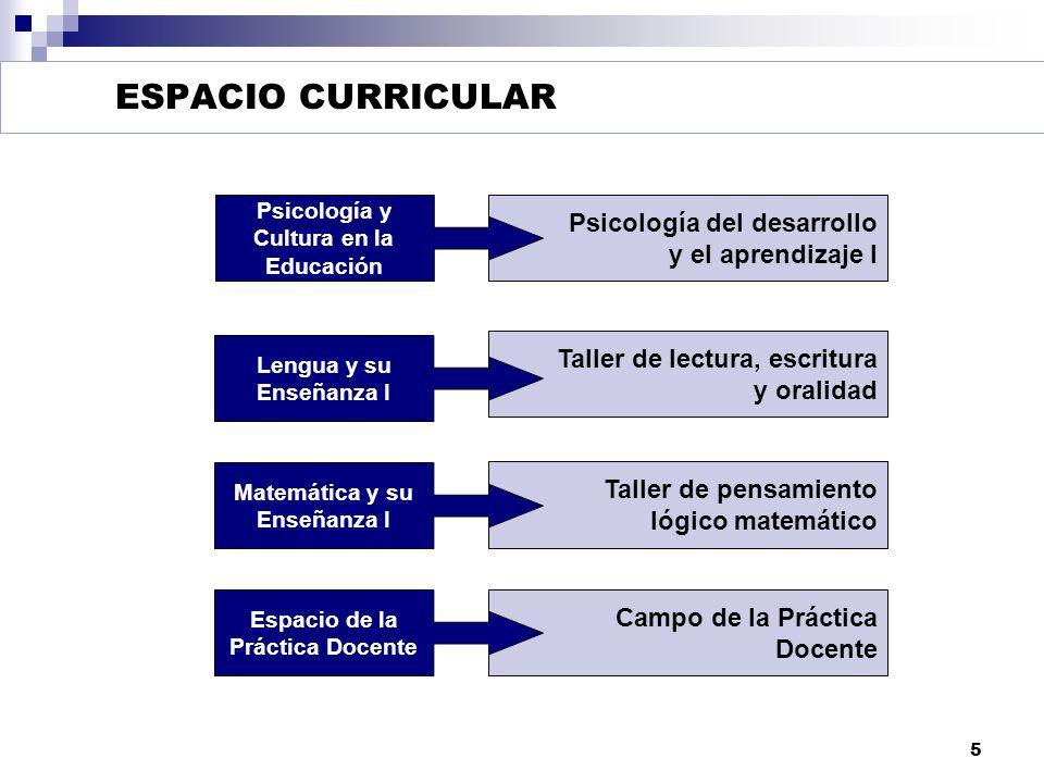 ESPACIO CURRICULAR Psicología del desarrollo y el aprendizaje I