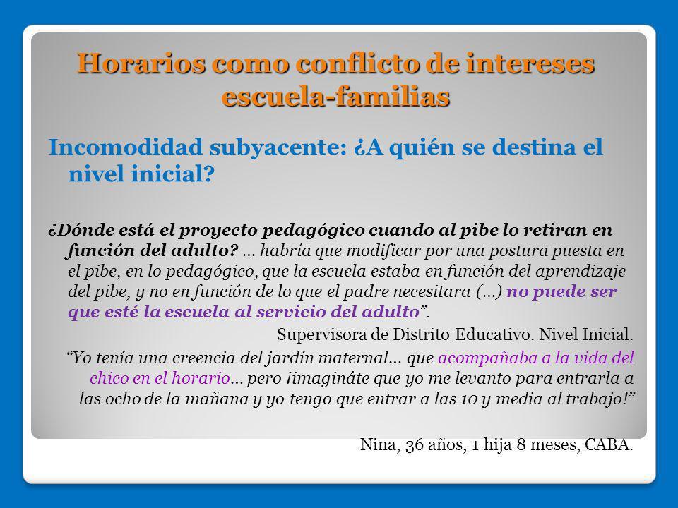 Horarios como conflicto de intereses escuela-familias
