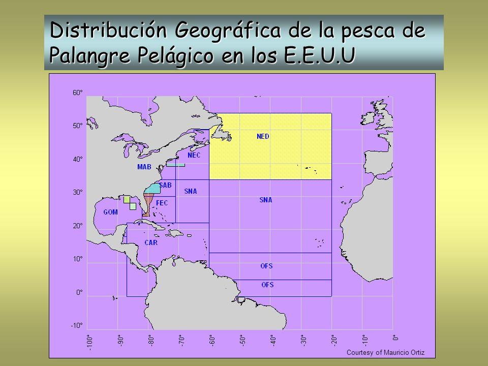 Distribución Geográfica de la pesca de Palangre Pelágico en los E.E.U.U