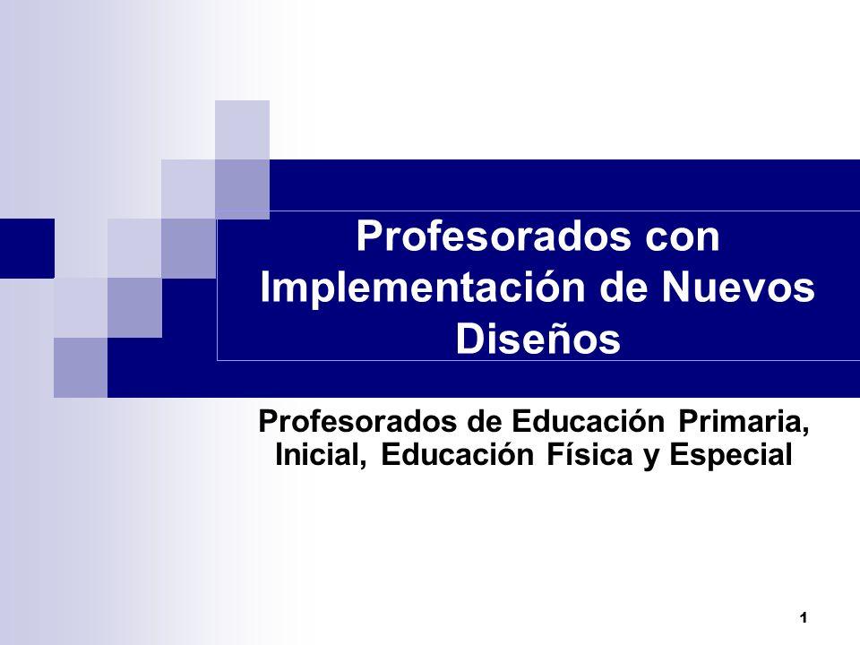 Profesorados con Implementación de Nuevos Diseños