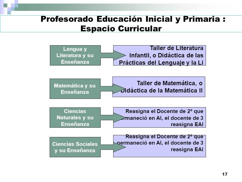 Profesorado Educación Inicial y Primaria : Espacio Curricular