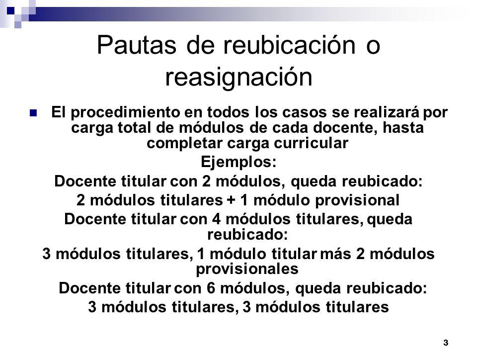 Pautas de reubicación o reasignación