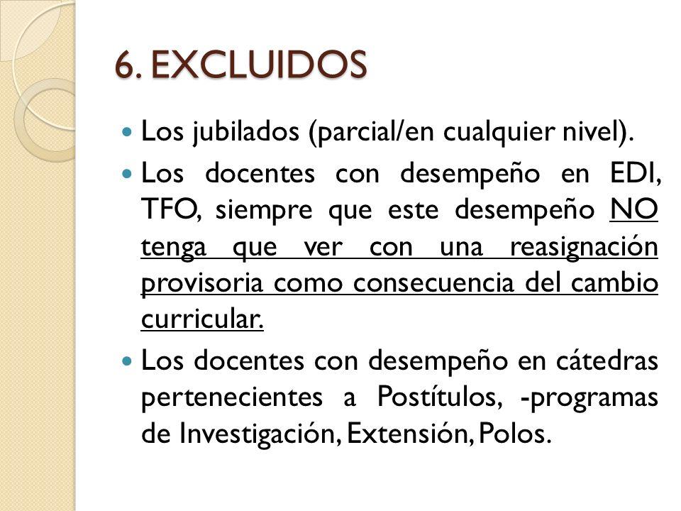 6. EXCLUIDOS Los jubilados (parcial/en cualquier nivel).