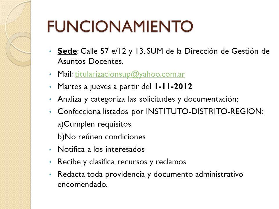 FUNCIONAMIENTO Sede: Calle 57 e/12 y 13. SUM de la Dirección de Gestión de Asuntos Docentes. Mail: titularizacionsup@yahoo.com.ar.