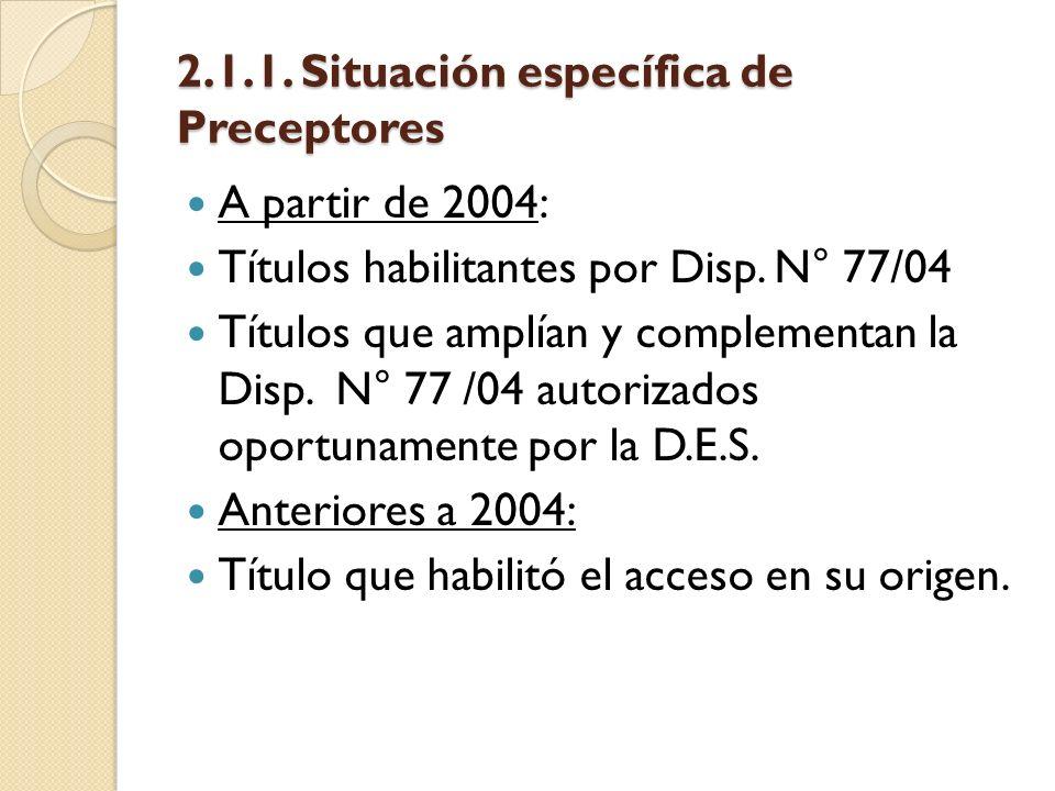 2.1.1. Situación específica de Preceptores