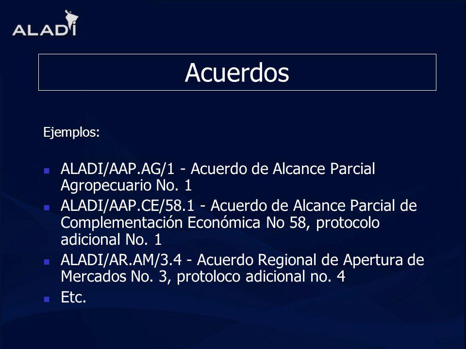 AcuerdosEjemplos: ALADI/AAP.AG/1 - Acuerdo de Alcance Parcial Agropecuario No. 1.