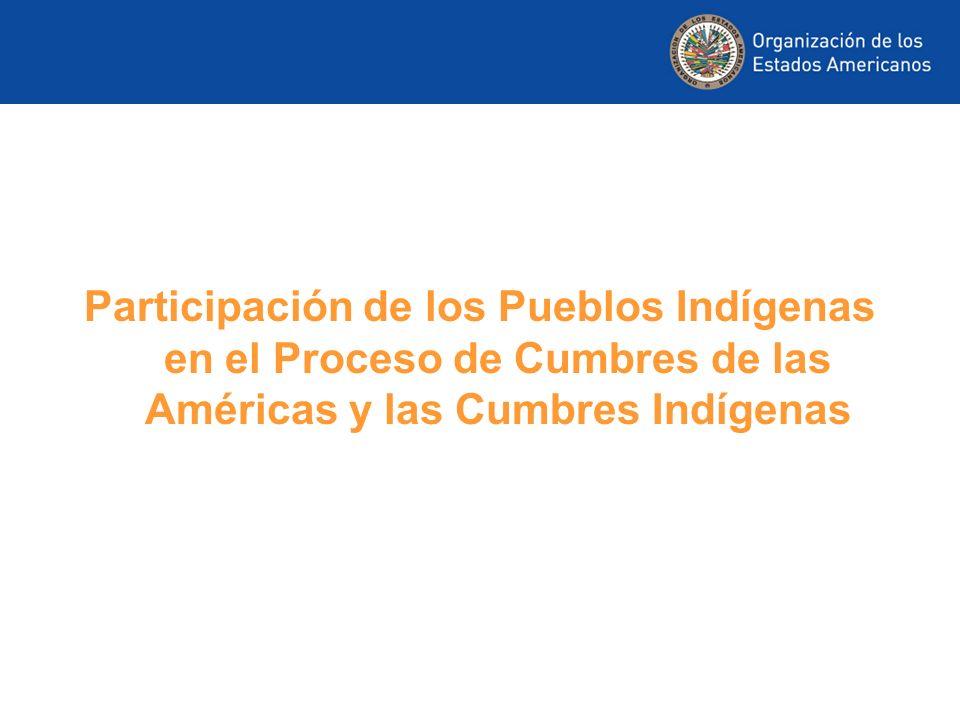 Participación de los Pueblos Indígenas en el Proceso de Cumbres de las Américas y las Cumbres Indígenas