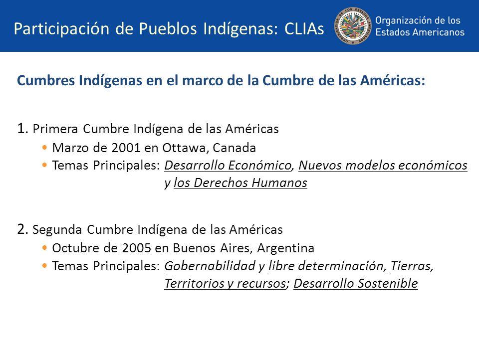 Participación de Pueblos Indígenas: CLIAs