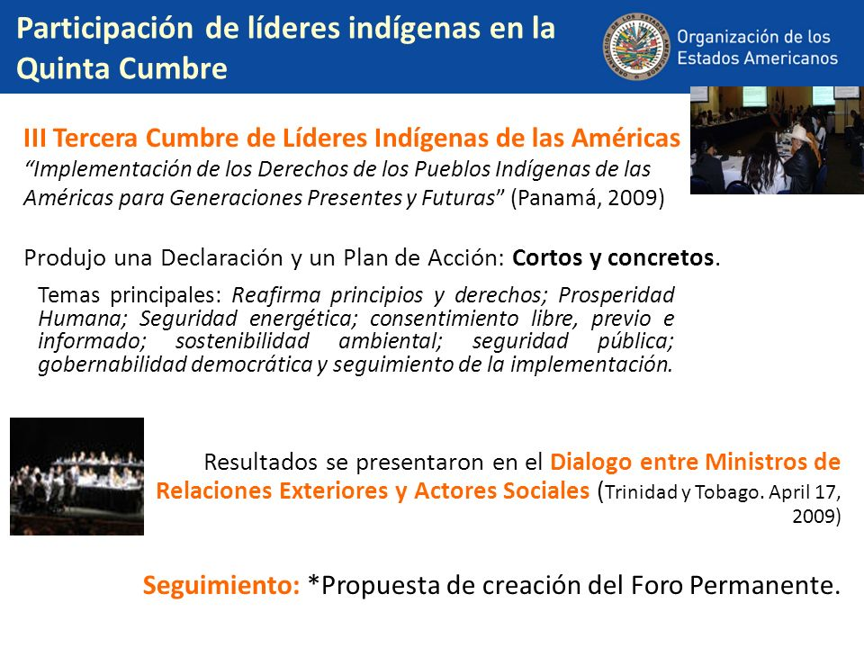 Participación de líderes indígenas en la Quinta Cumbre