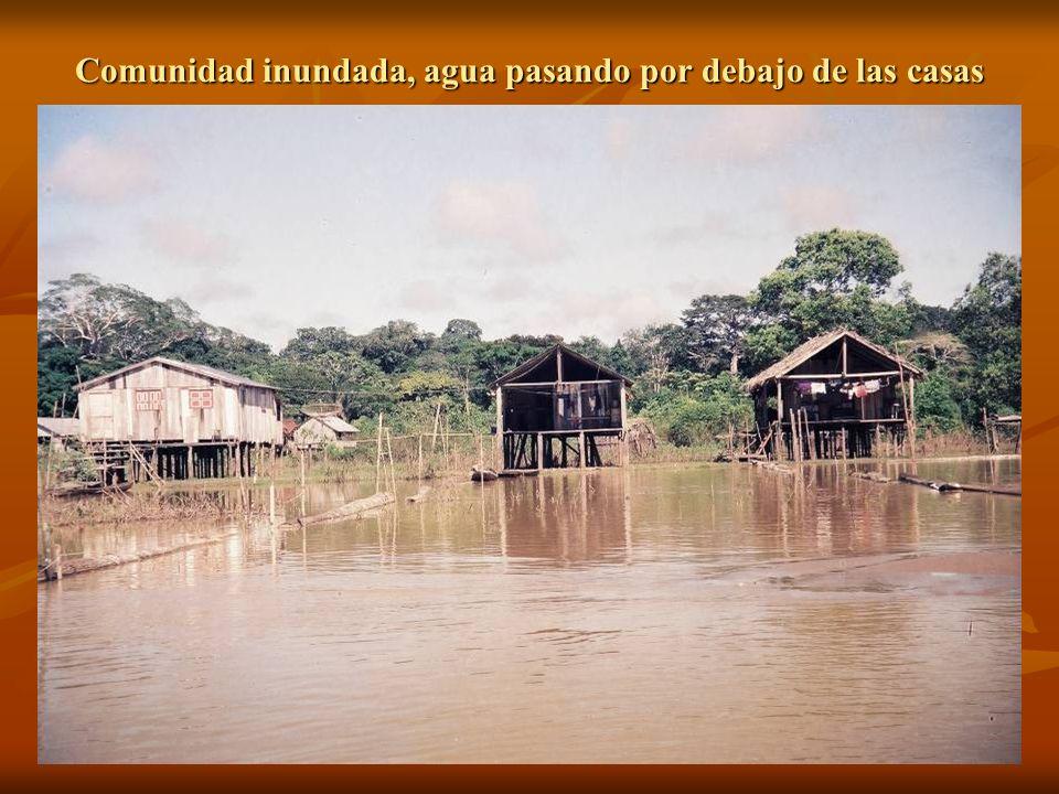Comunidad inundada, agua pasando por debajo de las casas