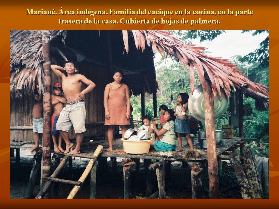 Mariané. Área indígena. Familia del cacique en la cocina, en la parte trasera de la casa.