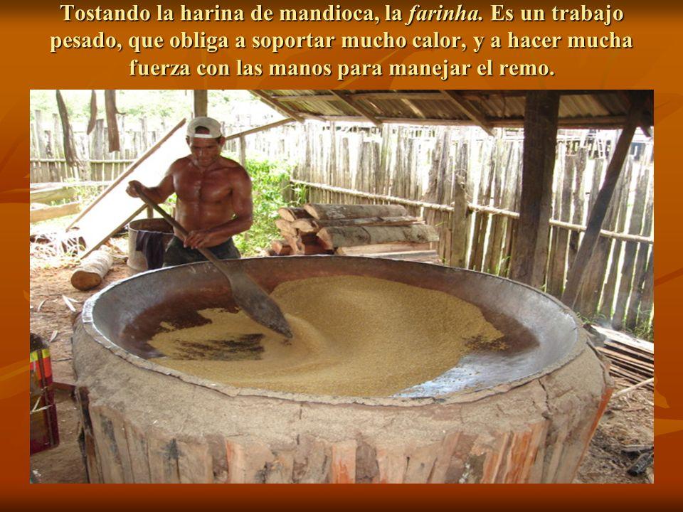 Tostando la harina de mandioca, la farinha