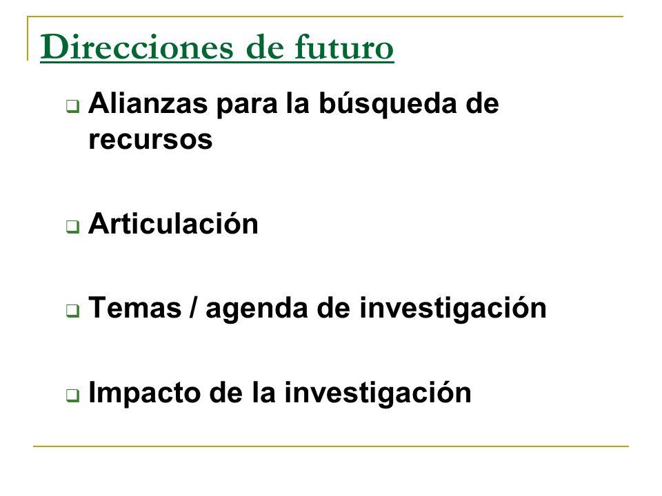 Direcciones de futuro Alianzas para la búsqueda de recursos