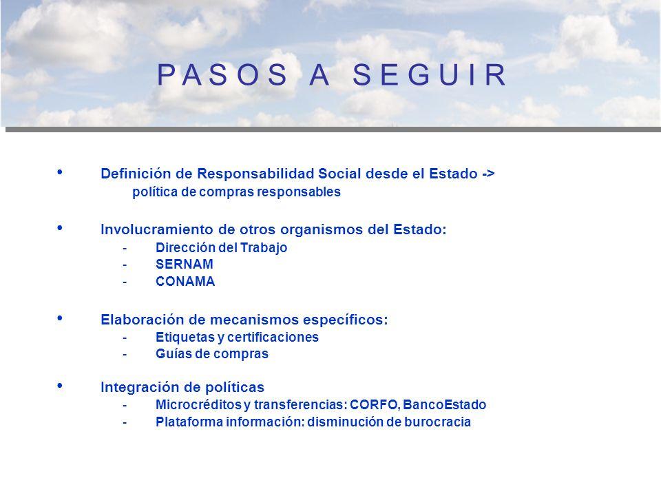 P A S O S A S E G U I R Definición de Responsabilidad Social desde el Estado -> política de compras responsables.