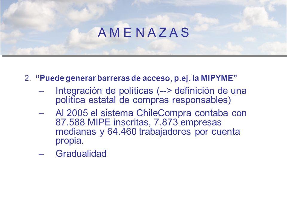 A M E N A Z A S 2. Puede generar barreras de acceso, p.ej. la MIPYME