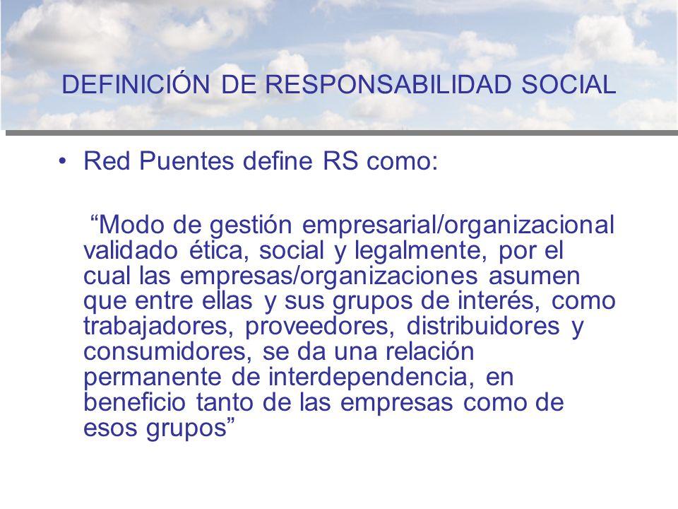 DEFINICIÓN DE RESPONSABILIDAD SOCIAL