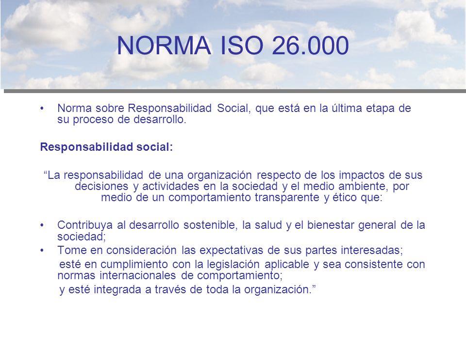 NORMA ISO 26.000 Norma sobre Responsabilidad Social, que está en la última etapa de su proceso de desarrollo.