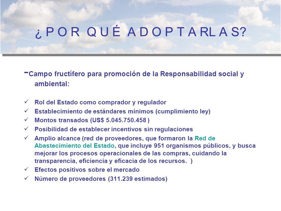 ¿ P O R Q U É A D O P T A RL A S -Campo fructífero para promoción de la Responsabilidad social y ambiental: